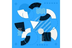 Illustrations of Geometric Shapes on Light Blue