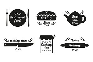 Collection of Cooking Labels with Text on White