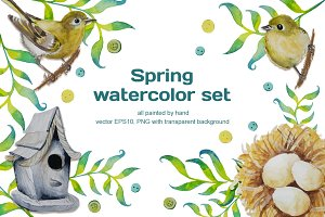 Spring watercolor set (vector)