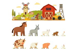 Animal Farm Vector Illustration White background