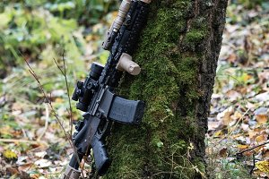 The Black Rifle In The Fall Forest