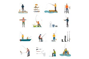 Fishing Activity of Men on Vector Illustration