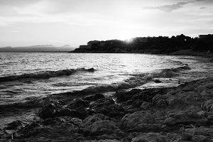 Salou Sunset Beach in B&W, Catalonia
