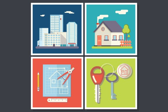 Building Real Estate Symbols Graphics Creative Market