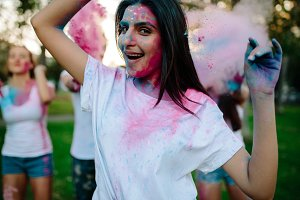 Woman celebrating festival of colors