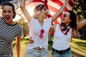 American women celebrating