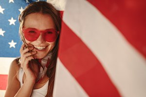 American girl with national flag