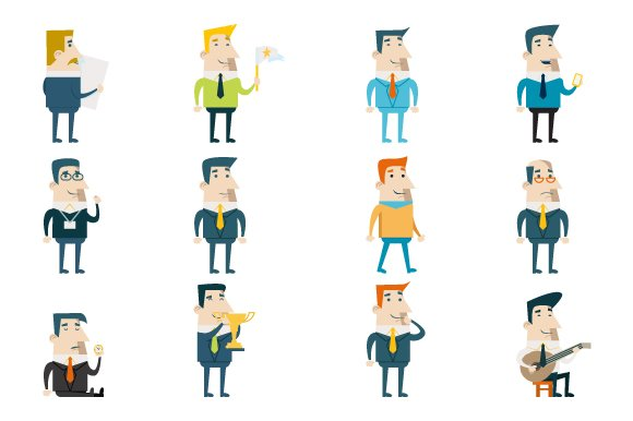 flat businessman cartoon characters icons creative market