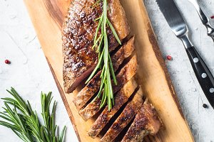 Grilled beef striploin steak.