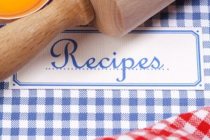 The book of recipes with ingredients
