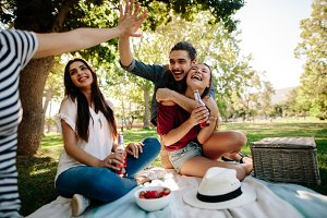 Friends having fun on picnic