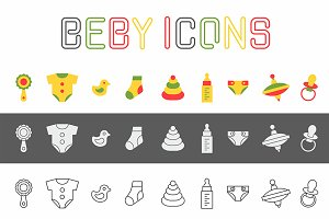 Baby things icons set