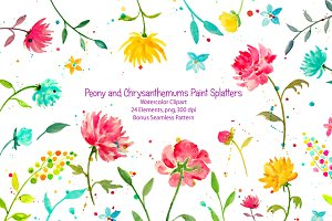 Watercolor Peony & Chrysanthemum