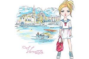 Cute fashion girl in Vernazza, Italia.
