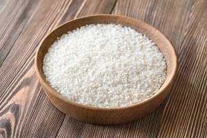 Bowl of uncooked rice