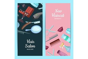 Vector vertical card or flyer illustration with hairdresser or barber cartoon elements