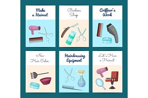 Vector card or flyer templates set for with hairdresser or barber