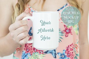 Woman holding 15oz mug mockup-summer