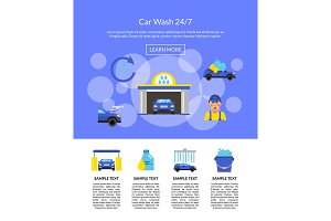 Vector page illustration with car wash flat icons