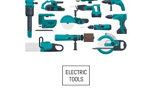 Vector background with electric construction tools