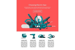 Vector illustration with electric construction tools