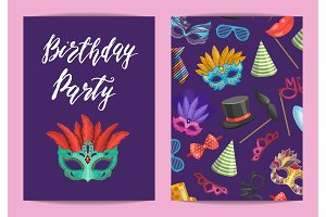 Vector card or flyer template with masks and party accessories