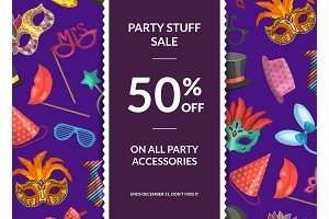 Vector sale background with masks and party accessories,