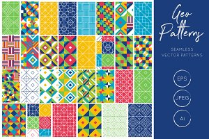 Geometric Tiles Vector Patterns
