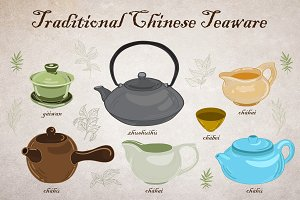 Traditional Chinese Teaware (vector)