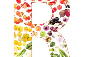 Letter made from fruits and vegetables, isolated