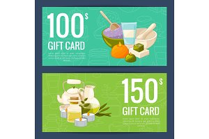 Vector gift card templates with cartoon beauty and spa elements