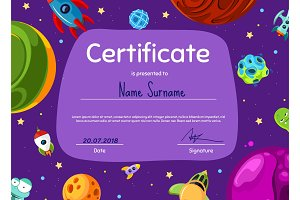 Vector children diploma or certificate with cartoon space planets