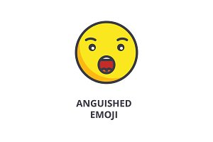 anguished emoji vector line icon, sign, illustration on background, editable strokes
