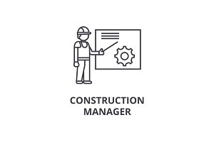 construction manager vector line icon, sign, illustration on background, editable strokes