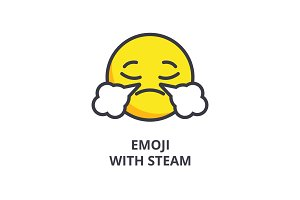 emoji with steam emoji vector line icon, sign, illustration on background, editable strokes
