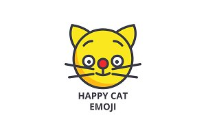 happy cat emoji vector line icon, sign, illustration on background, editable strokes