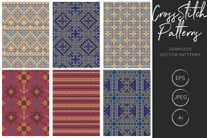 Dark Cross Stitch Seamless Pattern