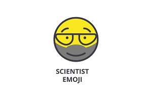 scientist emoji vector line icon, sign, illustration on background, editable strokes