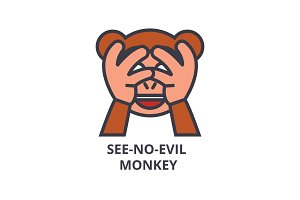 see no evil emoji vector line icon, sign, illustration on background, editable strokes