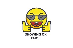 showing ok emoji vector line icon, sign, illustration on background, editable strokes
