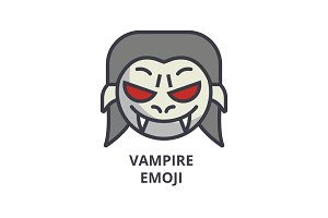 vampire emoji vector line icon, sign, illustration on background, editable strokes