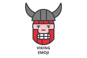viking emoji vector line icon, sign, illustration on background, editable strokes