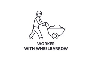 worker with wheelbarrow vector line icon, sign, illustration on background, editable strokes