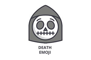 death emoji vector line icon, sign, illustration on background, editable strokes