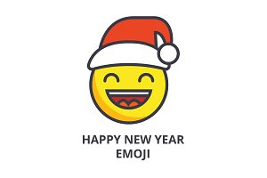 happy new year emoji vector line icon, sign, illustration on background, editable strokes