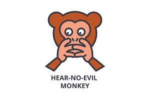 hear no evil emoji vector line icon, sign, illustration on background, editable strokes