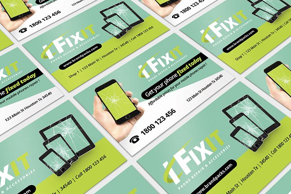 Phone Repair Business Card Templates Creative Market