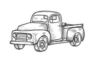 Truck in vintage engraved style