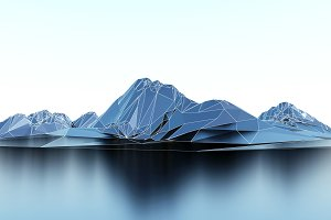 wireframe low poly mountains