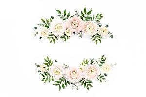 Wreath of pink ranunculus